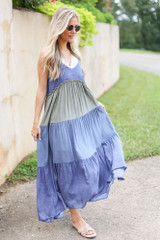 Tiered Color Block Maxi Dress Side View