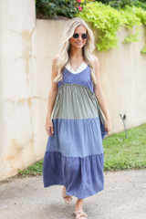 Tiered Color Block Maxi Dress Front View