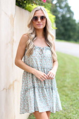 Sage - Tiered Floral Dress from Dress Up