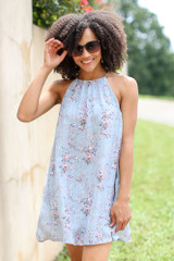 Floral Halter Swing Dress Front View