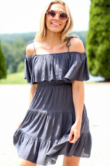 Navy - Tiered Cold-Shoulder Dress Front View