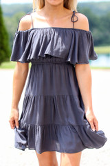 Navy - Close Up of the Tiered Cold-Shoulder Dress