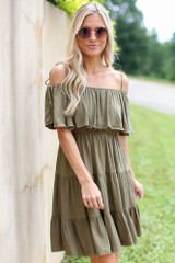 Tiered Cold-Shoulder Dress in Olive Front View