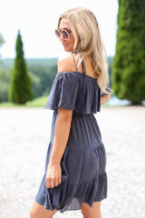 Tiered Cold-Shoulder Dress in Navy Side View