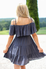 Tiered Cold-Shoulder Dress in Navy Back View