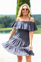 Tiered Cold-Shoulder Dress in Navy Front View
