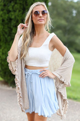Ivory - Ruffled Lightweight Knit Cardigan from Dress Up