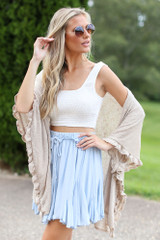 Ruffled Lightweight Knit Cardigan Front View
