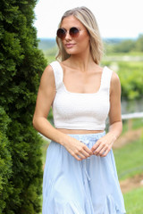 White - Smocked Cropped Tank