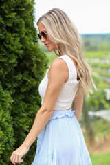 White - Smocked Cropped Tank Side View