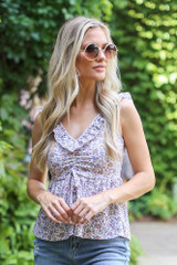 Ivory - Floral Babydoll Tank from Dress Up