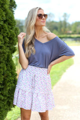 Ivory - Tiered Floral Skirt