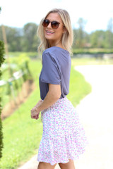 Tiered Floral Skirt Side View