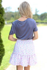 Tiered Floral Skirt Back View