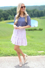 Dress Up model wearing the Tiered Floral Skirt