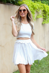 Swing Skort in Ivory Front View