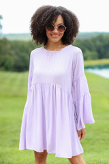Lavender - Bell Sleeve Babydoll Dress