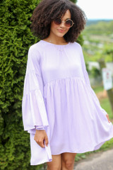 Bell Sleeve Babydoll Dress Front View