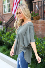 Olive - Oversized Top in Olive Side View