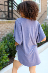 Oversized Top in Navy Back View