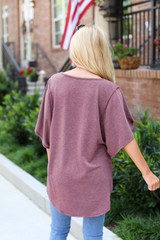 Wine - Oversized Top in Wine Back View