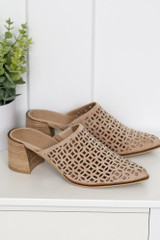 Block Heel Eyelet Mules Side View