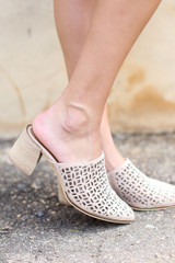 Model wearing the Block Heel Eyelet Mules