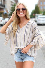 Taupe - Striped Blouse from Dress Up