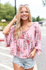 Floral Babydoll Blouse Front View