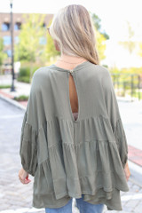 Tiered Oversized Blouse in Olive Back View