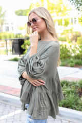 Tiered Oversized Blouse in Olive Side View