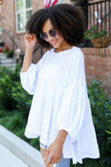 Tiered Oversized Blouse in White Side View