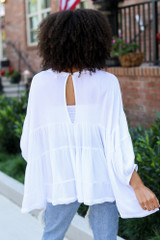 Tiered Oversized Blouse in White Back View
