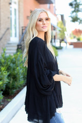 Tiered Oversized Blouse in Black Side View
