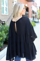 Tiered Oversized Blouse in Black Back View