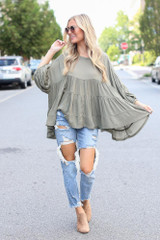 Olive - Model wearing a Tiered Oversized Blouse
