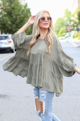 Olive - Dress Up model wearing a Tiered Oversized Blouse