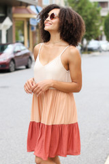 Rust - Tiered Color Block Dress from Dress Up