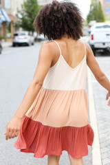 Tiered Color Block Dress Back View