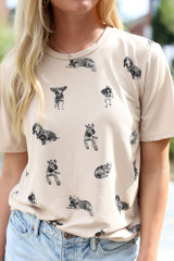 Taupe - Dog Graphic Tee from Dress Up