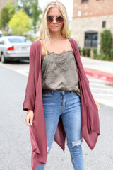 Marsala - Model wearing a Lightweight Knit Cardigan with a lace tank
