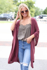 Marsala - Dress Up model wearing a Lightweight Knit Cardigan with a lace tank