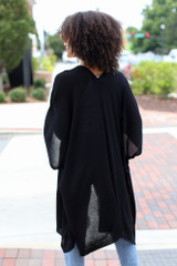 Lightweight Knit Cardigan in Black Back View