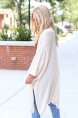 Lightweight Knit Cardigan in Ivory Side View