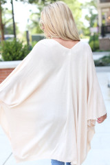 Lightweight Knit Cardigan in Ivory Back View
