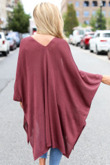 Lightweight Knit Cardigan in Marsala Back View