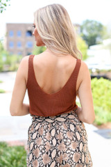 Sweater Tank in Brown Back View