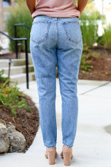 Distressed Straight Leg Jeans Back View