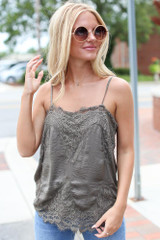 Model wearing the Olive Satin Lace Tank from Dress Up