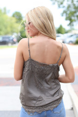 Satin Lace Tank in Olive Back View